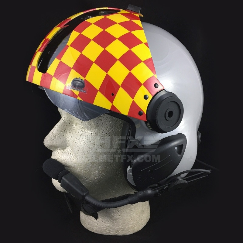 Checkerboard custom painted flight helmet
