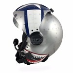 Aircraft sheet metal themed flight helmet