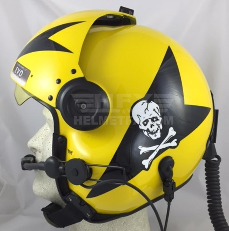 Skull and crossbones custom painted flight helmet