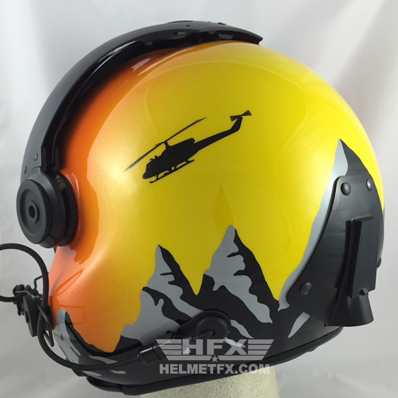 Mountains custom painted flight helmet 1