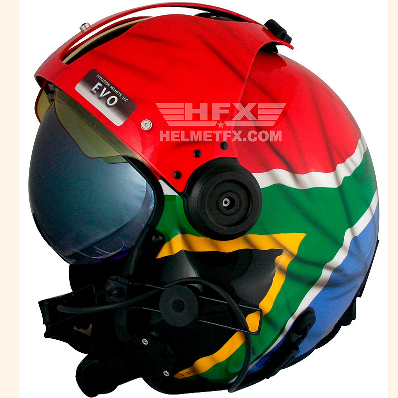 South African Flag custom painted flight helmet