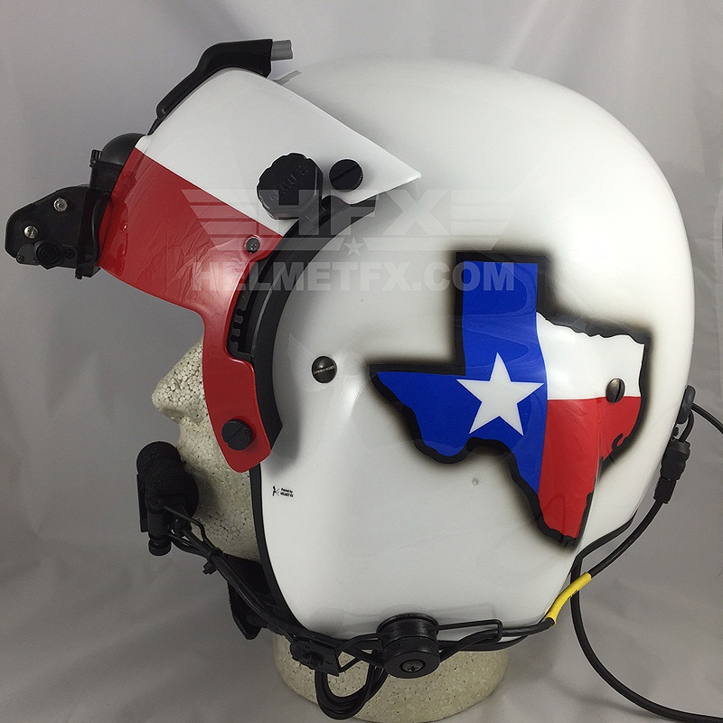 Texas custom painted flight helmet