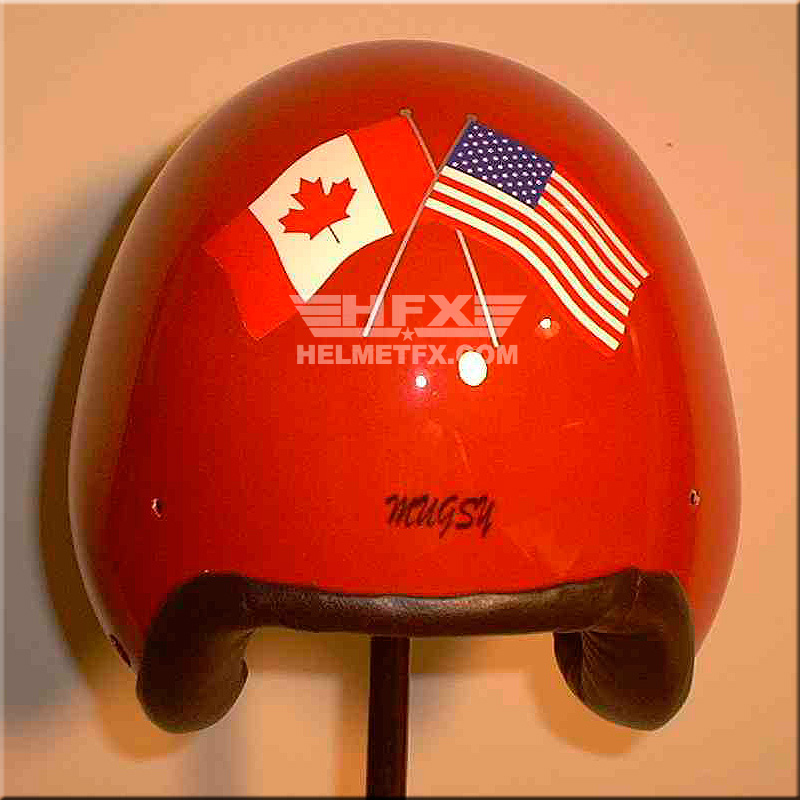 crossed flags custom painted flight helmet