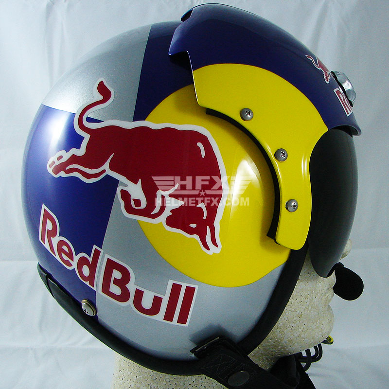 Iceman Red Bull custom painted flight helmet