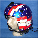 Stars and Stripes custom painted flight helmet 1