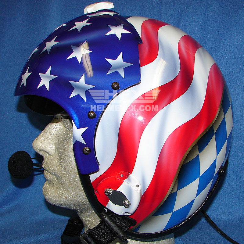 Stars and Stripes custom painted flight helmet 2