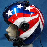 Stars and Stripes custom painted flight helmet 3