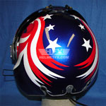 Stars and Stripes custom painted flight helmet 5