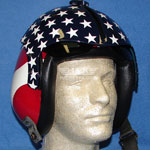 Stars and Stripes custom painted flight helmet 8
