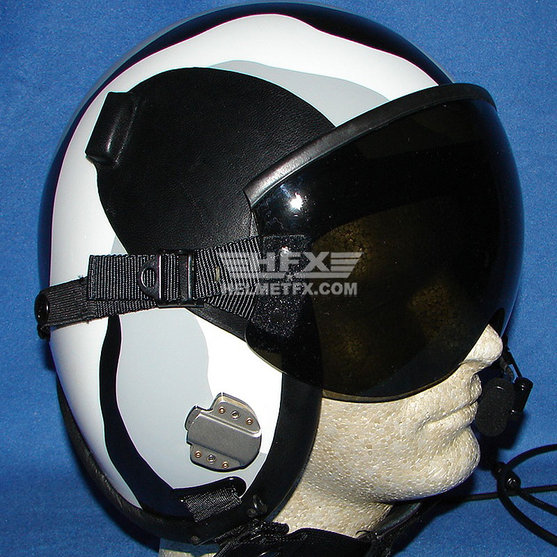 black white and grey custom painted flight helmet
