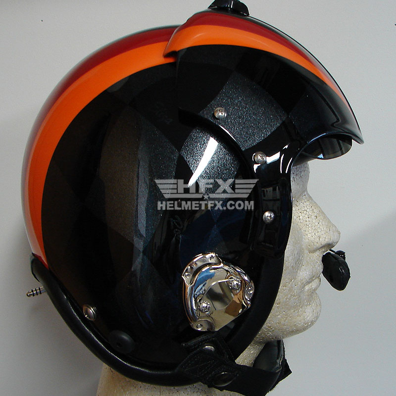 Orange striped custom painted flight helmet