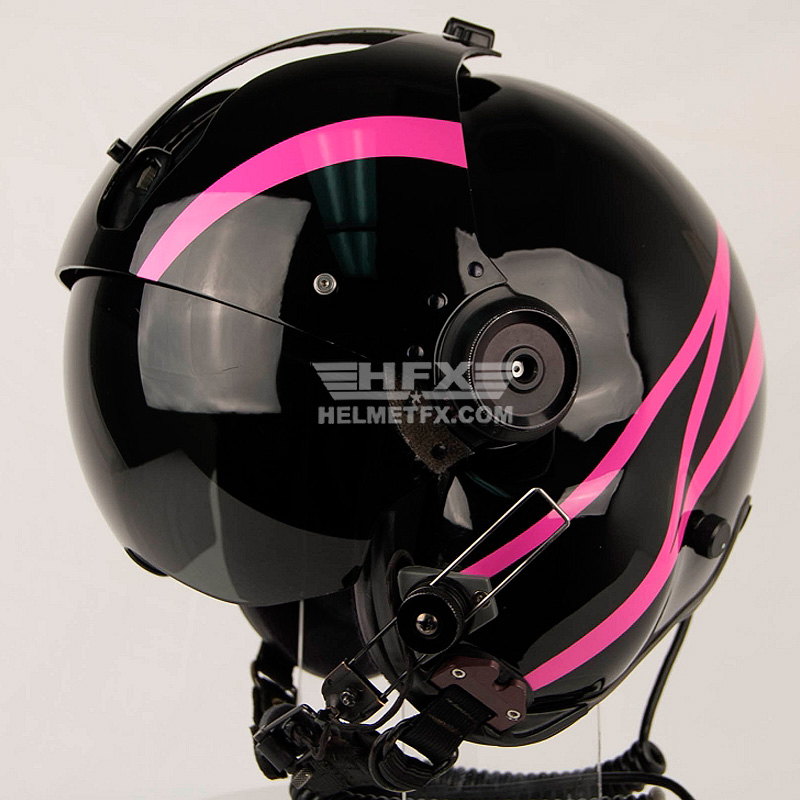 pink striped custom painted flight helmet