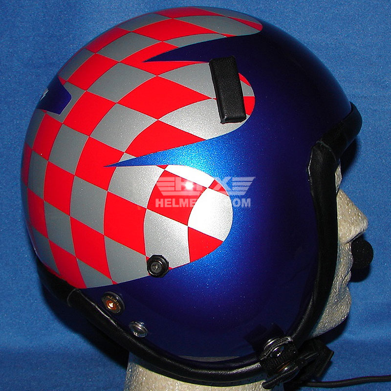 Red checked custom painted flight helmet