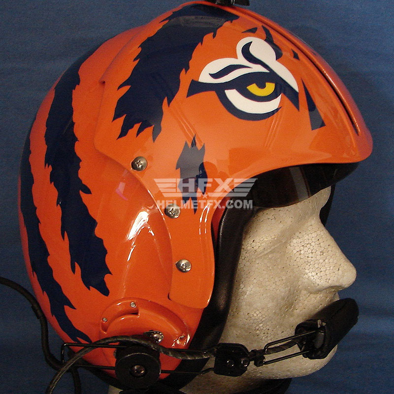 tiger print custom painted flight helmet