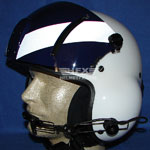 white striped custom painted flight helmet