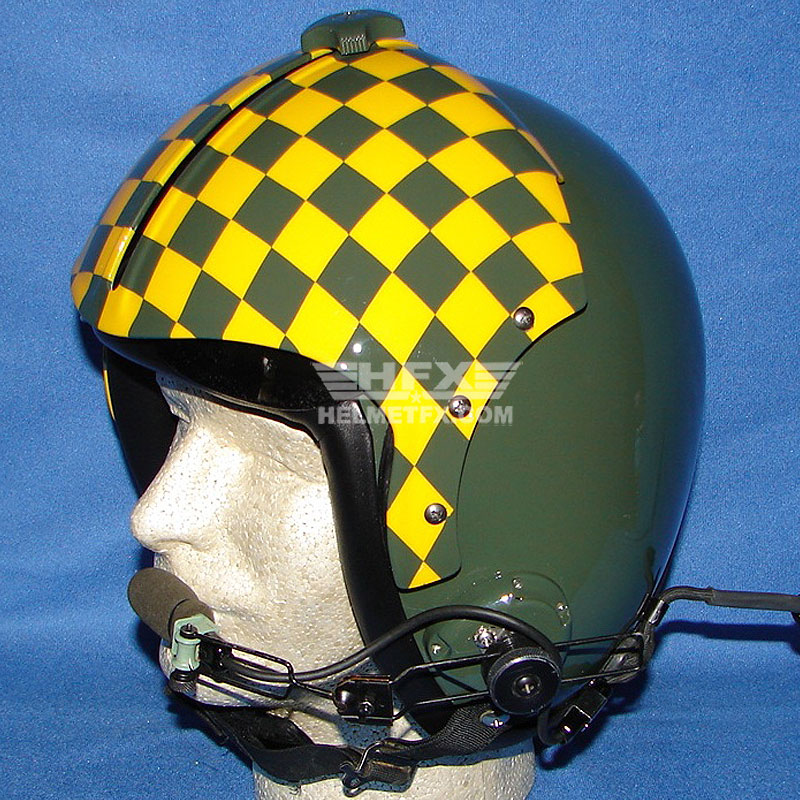 Yellow checkered custom painted flight helmet