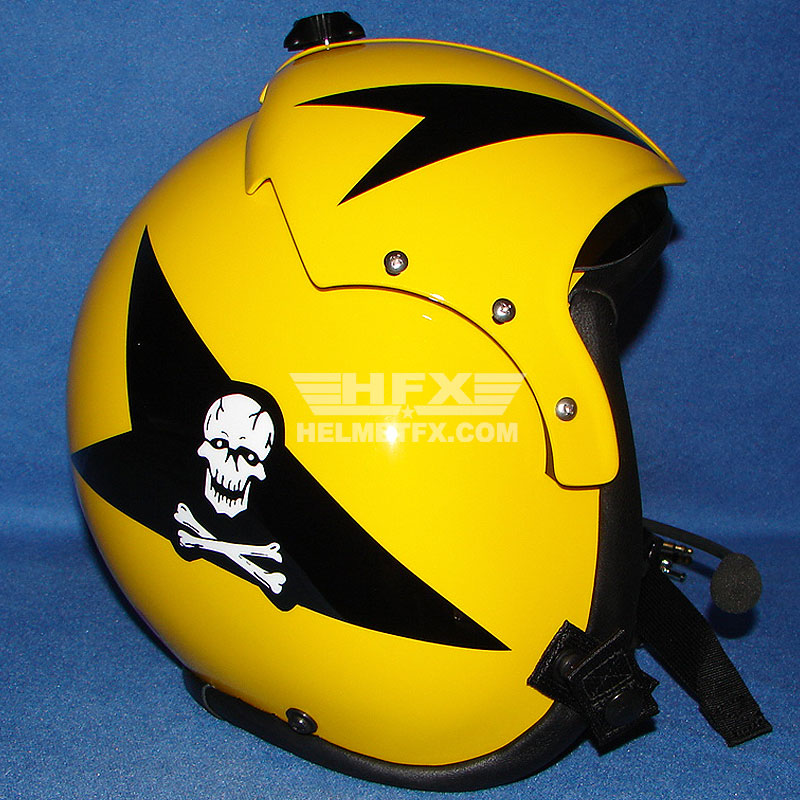 Yellow skull custom painted flight helmet
