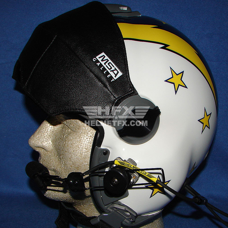 Yellow stars custom painted flight helmet